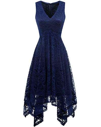 Bridesmay Women's Elegant V-Neck Sleeveless Asymmetrical Handkerchief Hem Floral Lace Cocktail Party Dress Navy XL