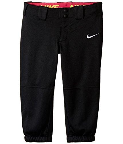 Nike Kids Girls' Diamond Invader Softball/Baseball Pant (Little Big Kids), Black/Tm White, XS (6X ()