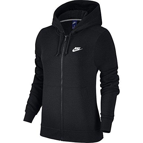Flc Chaqueta Negro Fz cappuccio Nike nero nero con nero Felpa Mujer Nsw bianco W wRqTWHg