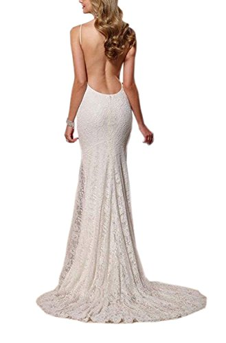 YinWen Womens A Line Spaghetti Straps Satin V-Neck Court Train Wedding Dress