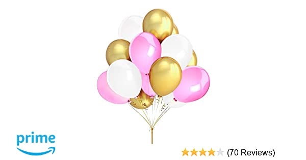Amazon Com Fecedy 100pcs Gold Pink White Round Balloons For Party Toys Games