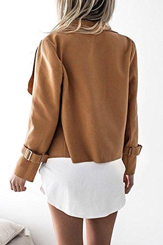 Manica Solidi Camel Outwear Acciuffato Autunno Casualmente Lunga Le Zojuyozio Giacche Donne nwqzFcaY