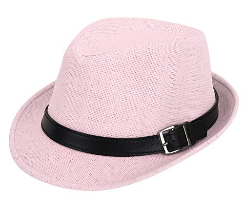 Simplicity Panama Style Fedora Straw Sun Hat with Leather Belt, Light Pink, LXL