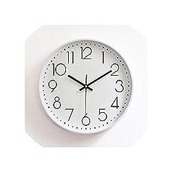 Silent Wall Clock Modern Design Quartz Wall Watch Plastic Antique Designer Clock Home Decor Saat Reloj Living Room,White