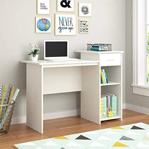 Mainstays Student Desk - Home Office Bedroom Furniture Indoor Desk - Easy Glide Accessory Drawer (Desk Only, Rodeo Oak) (Desk Only, White) (Desk Youth Bedroom)
