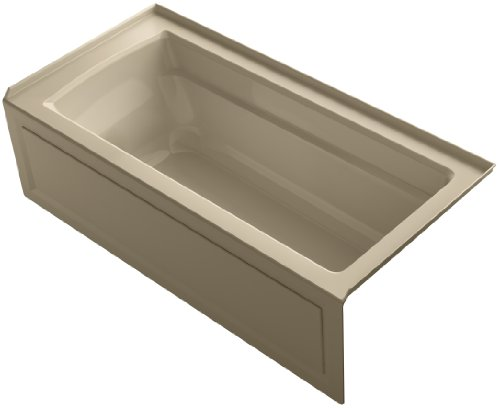 KOHLER K-1948-RA-33 Archer ExoCrylic 66-Inch x 32-Inch Three-Side Integral Flange Bath with Apron and Right-Hand Drain, Mexican Sand