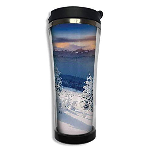 Customizable Travel Photo Mug with Lid - 14.2OZ(420 ml) Stainless Steel Travel Tumbler, Makes a Great Gift by,Winter Decorations,Fantastic Disappearance of Sunrise in Mountain Tops Dramatic Sky Alpine