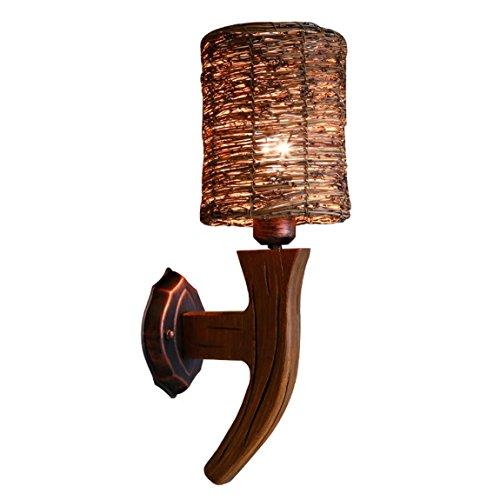 HZB American Retro Wood Art Wall Lamp Creative Living Room Bedroom Study Inn Rattan Rattan Lamp Wall Lamp Lamp ()