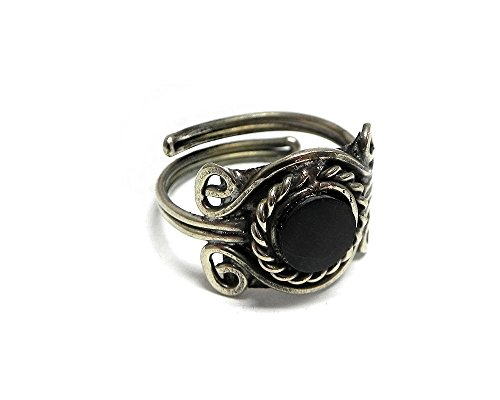 Natural Mini Round Stone Silver Rope Edge Adjustable Ring (Black Onyx)