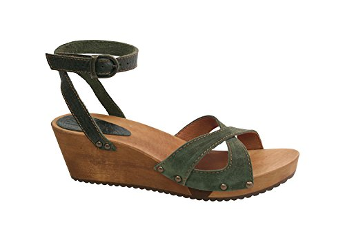 Sanita Thalia Wedge Flex Sandal Vintage Leather/Oil Suede Olive Size EU 37 - UK L4.5 NdMCG