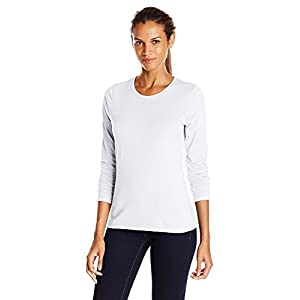 Hanes Women's Long-Sleeve Crewneck T-Shirt_White_Medium_White_Medium