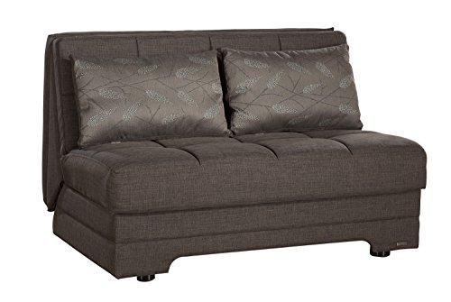 ISTIKBAL Multifunctional Love Seat Sleeper Twist Collection (Light Brown)