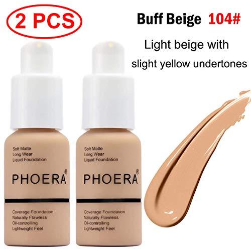 2 Pcs Phoera Liquid Foundation,30ml Natural Moisturizing Highlighting Matte Oil Control Concealer Facial Blemish Concealer Color Changing for Women Girls (104 Buff - The Moisturizing Natural Foundation
