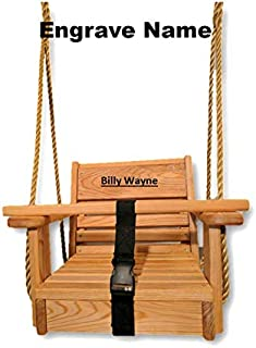 product image for Wormy Maple Wood Toddler Swing/ 10 feet of Rope per Side/ Baby Swing/ Tree Swing/Free Engraving
