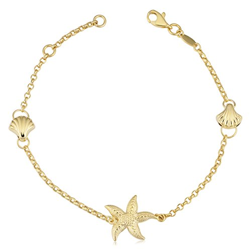 Kooljewelry 14k Yellow Gold Seashell and Starfish Station Bracelet (fits 7 or 7.5 inch)