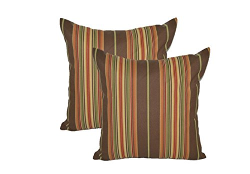 - Resort Spa Home Decor Set of 2 - Indoor/Outdoor Square Decorative Throw/Toss Pillows - Brown, Red, Green, Orange Stripe - Choose Size (20