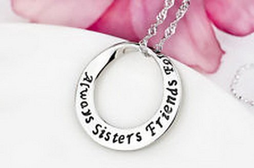 jacob alex #40643 Always Sisters Friends Forever Message Pendant Necklace 18'' 925 Sterling Silver by jacob alex
