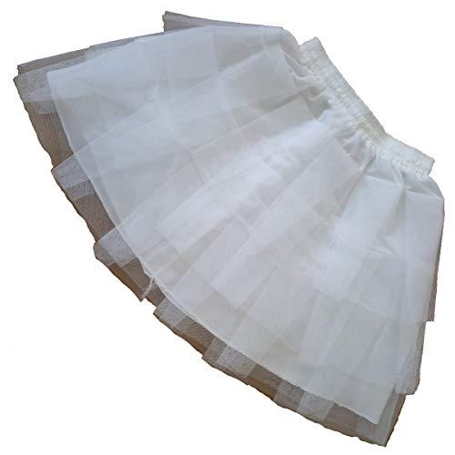 (Lanbaodress Girls Knee Length 3 Layers Tulle Half Slips Girl Petticoat Slips Underskirt One Size White)