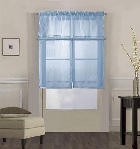 (Decotex 3 Piece Solid Sheer Voile Kitchen Window Curtain Tier & Valance Set (36