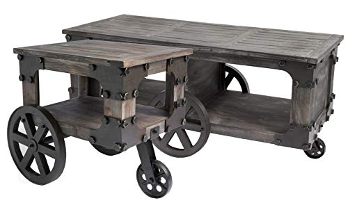 Vintiquewise Rustic Industrial Wagon Style Coffee End Table Storage Shelf Wheels (Set of 2), Brown