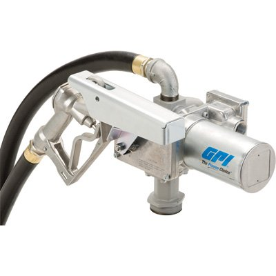 GPI 144000-02, M-3020-ML High Flow Cast Iron Fuel Transfer Pump, 20 GPM, 12-VDC, 1-Inch Manual Nozzle, 12-Foot Fuel Hose, 18-Foot Power Cord, Adjustable Suction Pipe
