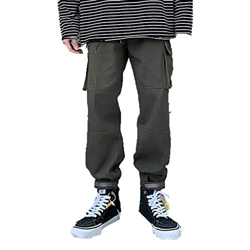 Mwzzpenpenpen Men's European and American Streetwear Solid Color Overalls Fashion Straight Trousers Stretch Lightweight Pant