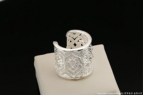 Dudee Silver Color Hollowed Love Heart engagement rings fashion rings set
