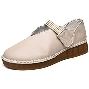 Women's Shoes New 2019 Loafers & Slip-Ons Soft Leather Oxford Bottom Maternity Shoes Casual/Daily Walking Shoes,Beige,34