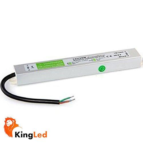 King LED - Alimentatore per strisce LED da45W, 12V, impermeabile (IP67)