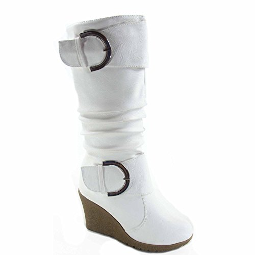 Top Moda Pure-65 Women's Fashion Round Toe Slouch Buckle Wedge Mid Calf Boot Shoes (8.5, (Mid Calf Wedge Boots)