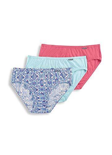 Jockey Women's Underwear Elance Bikini - 3 Pack, Sea Glass/Blooming Latice/Pink Grapefruit, 6 -
