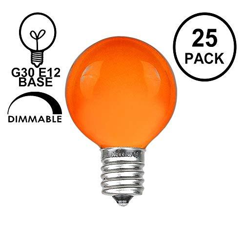 Novelty Lights 25 Pack G30 Outdoor Globe Replacement Bulbs, Orange, C7/E12 Candelabra Base, 5 Watt