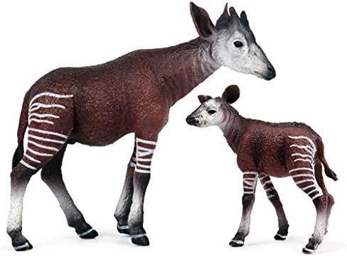 Yinuneronsty 2 Pcs Woodland Animal Figurines Faux Okapi G/âteau Toppers Jouets pour F/ête danniversaire