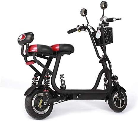ZZKK Scooter eléctrico Mini Ligera Adulto Scooter pequeño Plegable biplaza eléctrico de la Bicicleta de Carga 280kg,48v13a/65km