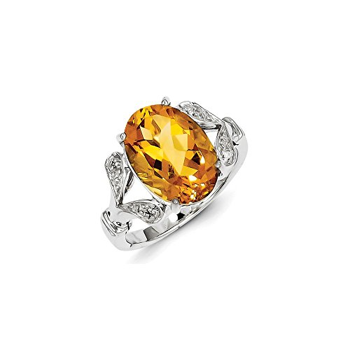 Sterling Silver Rhodium Citrine & Diamond Ring by CoutureJewelers