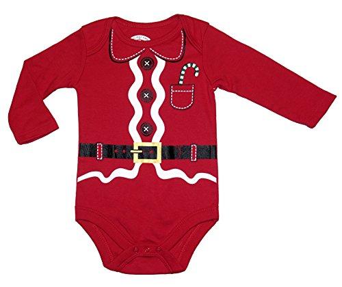 Topsville Assorted Santa, Reindeer Baby Boys & Girls Christmas Bodysuit Dress Up Outfit (Red, 3-6 Months, Santa Suit)