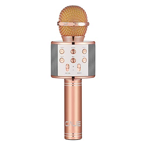 Calie Bluetooth Wireless Karaoke Microphone,Portable Bluetooth Speaker Player,Selfie Function for Apple iPhone Android Smartphone-Rose Gold ()