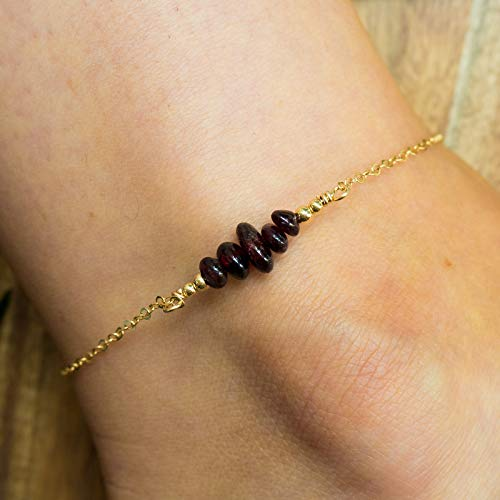 Garnet bead bar crystal gemstone anklet in 14k gold fill - 8