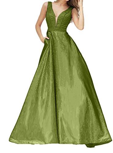 Promkleider V Bodenlang Ausschnitt Charmant mit Gruen Brautmutterkleider Damen Abendkleider Olive A Linie Festlichkleider BxRwHYq