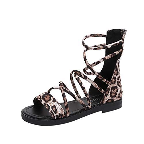 (Aunimeifly Womens Casual Rome Flock Leopard Shoes Zipper Shoes Low Heels Sandals Criss Cross Strap Flats Beige )