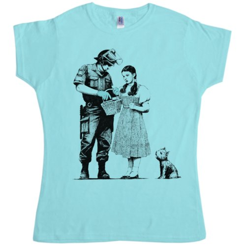 Womens Banksy T Shirt - Stop And Search - Sky Blue - Large (12-14)