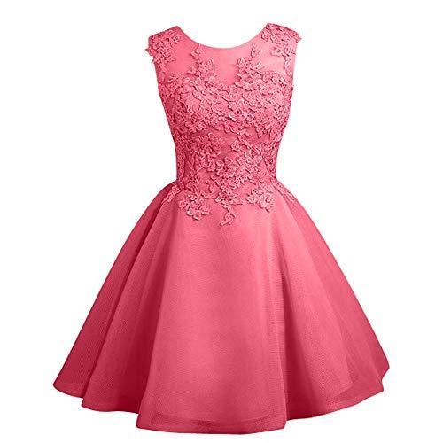Braut Mini Romantisch Rock La Brautjungfernkleider Abendkleider Marie Cocktailkleider Spitze Wassermelon Weiss qpSp5
