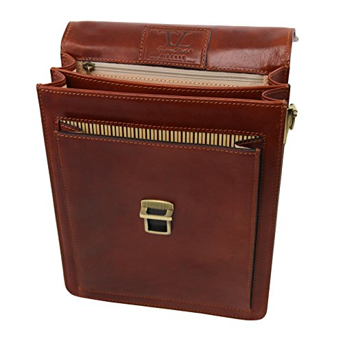 Tuscany Leather David Leather Crossbody Bag - large size Brown by Tuscany Leather (Image #1)