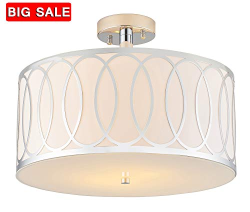 Chrome Flush Type - Delica Home 15.75'' 2 Light Semi Flush Mount Ceiling Light, Off Chrome and White Shade With Frosted Glass Diffuser, Elegant Drum Ceiling Lighting Fixture, Chrome Finish