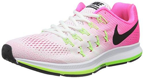 Nike Women's Air Zoom Pegasus 33 Running Shoes, Grey White (White / Blk-pnk Blst-elctrc Grn)