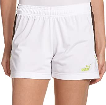 PUMA Women's Agile Short,White-Coffee Bean-Bright Chartreuse Green,Small