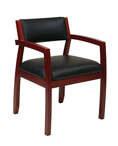 Office Star Napa Black Bonded Leather Seat and Back Guest Chair, Cherry Finish