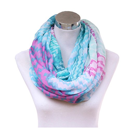 Lucky Leaf Women Cozy Fashion Gauze Loop Infinity Scarf Painting Artistic Zig Zag (Green Fuschia)