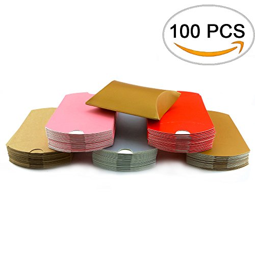 Small Pillow Boxes - Fyess 100 PCS Kraft Pillow Shape Candy Box For Christmas,Wedding Party Favor