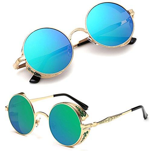 Vintage Redondo Eyewear Mirrored Ggn sol polarizadas sol Fashion Punk Hombre de Steampunk Logres de Mujer Gafas Moda Gafas Bg6dwfx6q